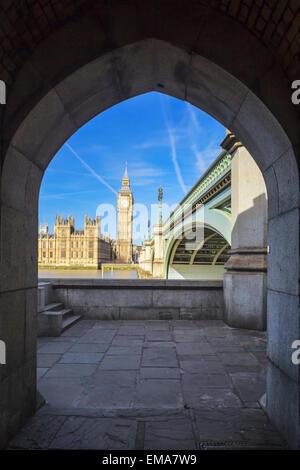 View of Big Ben through the pedestrian tunnel, London. - Stock Photo
