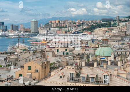 Genoa port, aerial view of the old town in Genova - Centro Storico - and the port area, Liguria, Italy. - Stock Photo