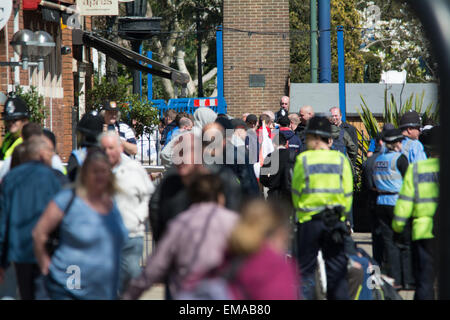 Solihull, West Midlands, UK. 18th April, 2015. The EDL - English Defence League gather in Solihull town centre with - Stock Photo