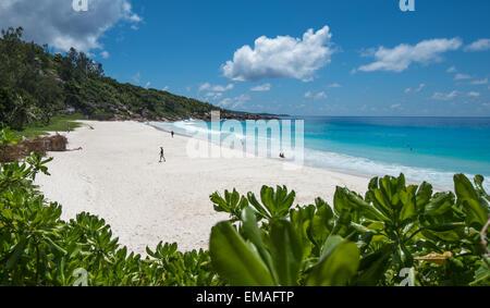 Petit Anse tropical beach, La Digue island, Seychelles - Stock Photo