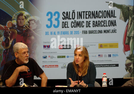 Barcelona, Spain. 18th April, 2015. Tania Sánchez, a spanish politician, talks in the lecture 'Political Lectures - Stock Photo