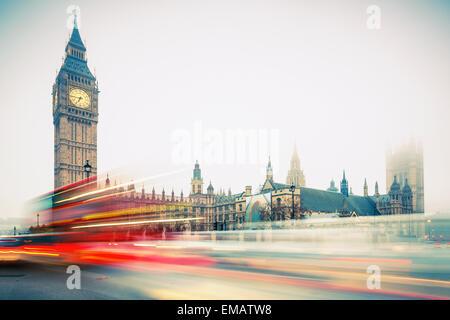 Big Ben and double-decker bus, London - Stock Photo