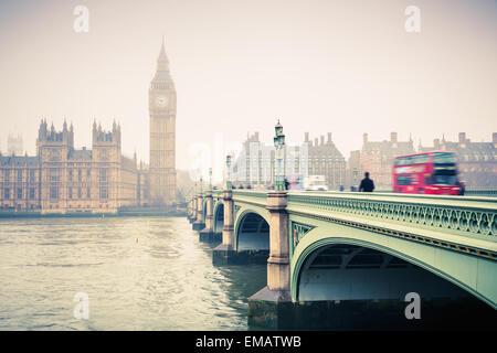 Big Ben and westminster bridge - Stock Photo