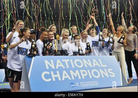 Fort Worth, Texas, USA. 18th Apr, 2015. The University of Florida gymnastics team won it's third straight NCAA Women's - Stock Photo