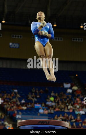 Fort Worth, Texas, USA. 18th Apr, 2015. KYRTA HUNTER competes on vault for the University of Florida during the - Stock Photo