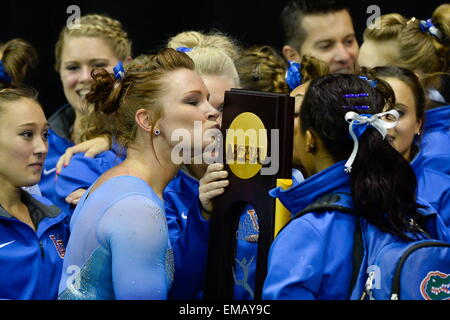 Fort Worth, Texas, USA. 18th Apr, 2015. BRIDGET SLOAN, of the University of Florida, celebrates winning the team - Stock Photo