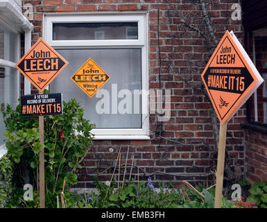 Didsbury, Manchester, UK. 19th April, 2015. General Election A house in Grove Lane, Didsbury in the Manchester Withington - Stock Photo