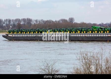 River Rhine, near Emmerich, lower Rhine area, freight ships, - Stock Photo