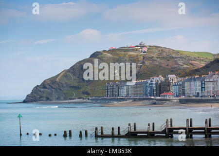 Aberystwyth, Wales, UK 19 April 2015 . Aberystwyth basks in the morning sunshine, with Constitution Hill in the - Stock Photo