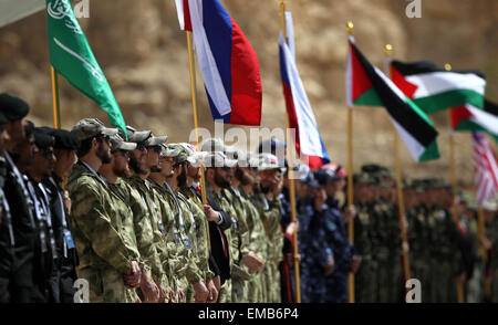 Amman, Jordan. 19th Apr, 2015. Participants wait to compete during the seventh Annual Warrior Competition at the - Stock Photo