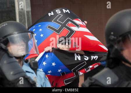 Toledo, Ohio USA - 18 April 2015 - Protected by hundreds of police, the neo-Nazi National Socialist Movement held - Stock Photo