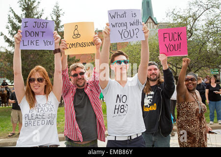 Toledo, Ohio USA - 18 April 2015 - Several hundred people turned out to protest as the neo-Nazi National Socialist - Stock Photo
