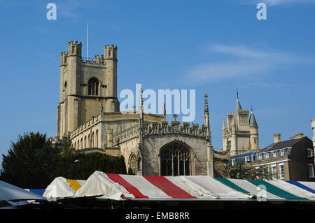 Church of St Mary the Great seen above market awnings, Cambridge, England, UK - Stock Photo