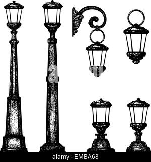 Sketch of street light, vector drawing - Stock Photo
