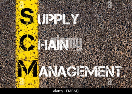Business Acronym SCM as Supply Chain Management. Yellow paint line on the road against asphalt background. Conceptual - Stock Photo