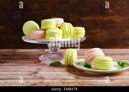 Delicious macaroon on  stand, food - Stock Photo