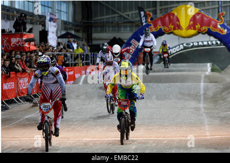 Manchester, UK. 19th April, 2015. ahead of  2015 BMX Supercross Round 1  at National Cycling Centre ahead of  2015 - Stock Photo