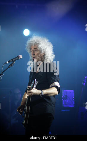 KYIV, UKRAINE - JUNE 30, 2012: Brian May of Queen performs onstage during charity Anti-AIDS concert at the Independence - Stock Photo