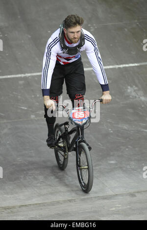 Manchester, UK, Sunday 19th April 2015. The National Cycling Centre hosted the UCI BMX Supercross World Cup. British - Stock Photo
