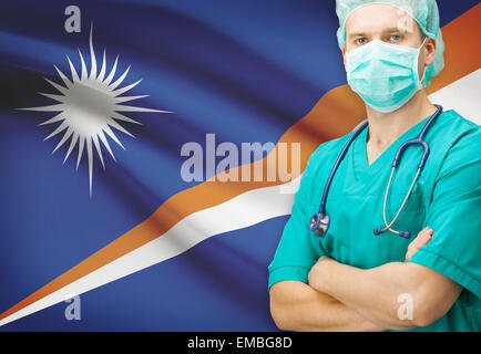 Surgeon with national flag on background - Marshall Islands - Stock Photo