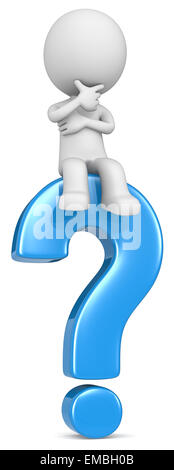The dude 3D character sitting on blue question mark. - Stock Photo