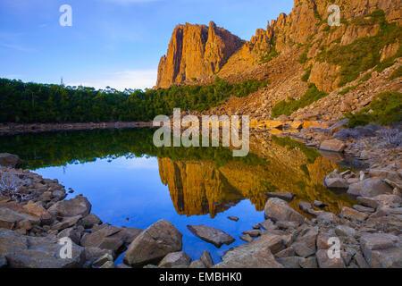 Tranquil Tarn and Denison Crag - Ben Lomond National Park - Tasmania - Australia - Stock Photo