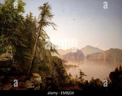 Along the Hudson - 1852 - John Frederick Kensett - Stock Photo