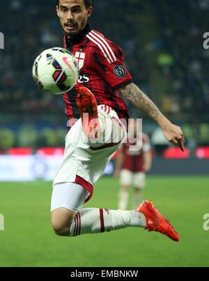 Milan, Italy. 19th Apr, 2015. Giuseppe Meazza stadium, Milan, Italy. Serie A football league. Inter Milan versus - Stock Photo