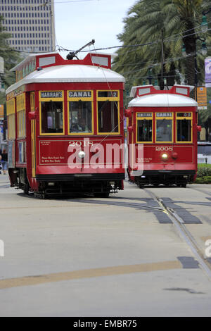 Red streetcar on Canal Street. New Orleans, Louisiana USA - Stock Photo