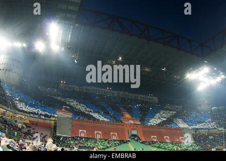 Milan, Italy. 19th Apr, 2015. Inter fans Football/Soccer : Italian 'Serie A' match between Inter Milan 0-0 AC Milan - Stock Photo