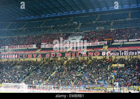 Milan, Italy. 19th Apr, 2015. Milan fans Football/Soccer : Italian 'Serie A' match between Inter Milan 0-0 AC Milan - Stock Photo