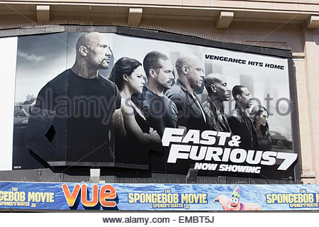 Poster advertising The fast and the Furious 7 starring the Late Paul Walker in his final film - Stock Photo