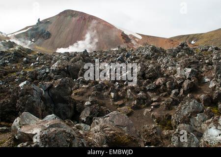 landscape with cooled down of stream of lava, Fjallabak National Park, Landmannalaugar, Iceland - Stock Photo