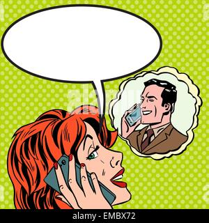 Pop art vintage comic. The woman speaks to the man on the phone. Retro style. Bubble for text. Technology and relationships - Stock Photo