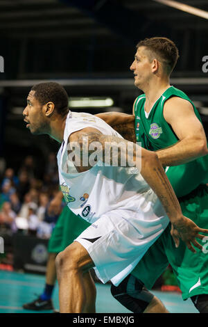 Manchester, UK. 19th April 2015. London Lions forward Andrew Sullivan defends against Manchester Giants' Rob Marsden - Stock Photo