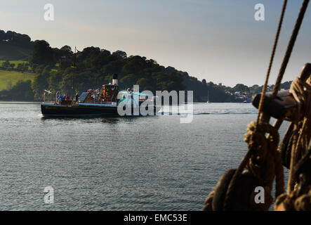 The paddle steamer Kingswear Castle on the River Dart - Stock Photo