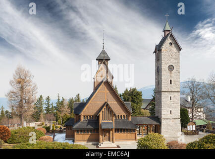Old wooden temple Wang in Karpacz, Poland. - Stock Photo