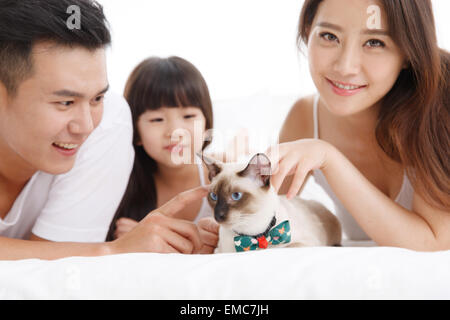 The happiness of a family of three with a pet cat in the bed of the bedroom - Stock Photo