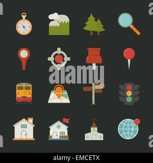 Map icons and location icons , flat design - Stock Photo