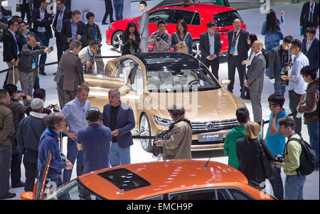 Shanghai, China. 20th Apr, 2015. HANDOUT - A handout picture provided by Friso Gentsch/Volkswagen/dpa shows exhibition - Stock Photo