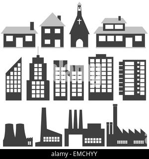 black and white apartment building clip art. Black and white illustration  Buildings Stock Photo A black drawing of apartment buildings in the city
