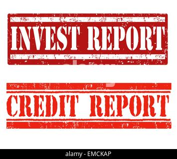 Invest report and credit report stamps - Stock Photo
