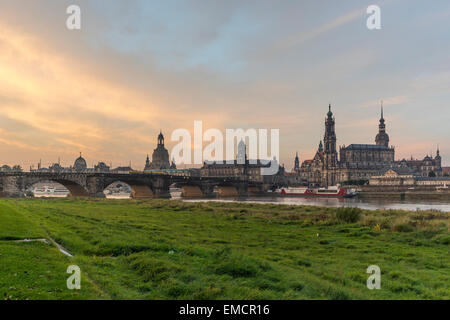 Germany, Dresden, view to old city in the morning - Stock Photo