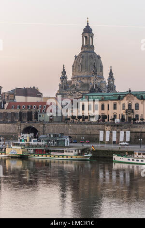 Germany, Dresden, view to Dresden Frauenkirche and Sekundogenitur in the morning - Stock Photo