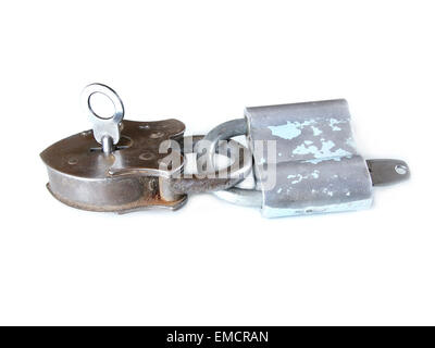 together locked vintage padlocks isolated on white background doing teamwork and counting on each other - Stock Photo