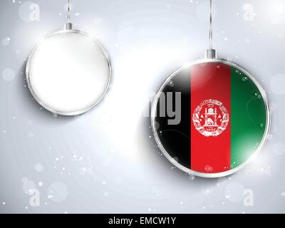 Merry Christmas Silver Ball with Flag Afghanistan - Stock Photo