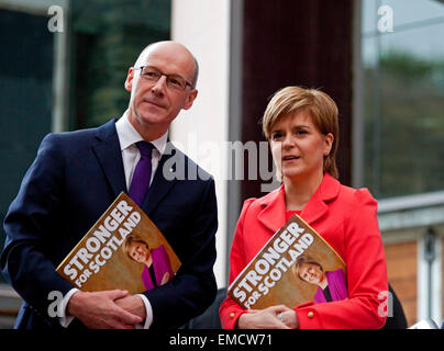 Ratho, Edinburgh, Scotland, UK. 20th April 2015. Nicola Sturgeon (right), First Minister for Scotland, launches - Stock Photo