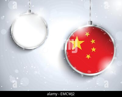 Merry Christmas Silver Ball with Flag China - Stock Photo