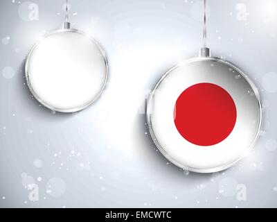 Merry Christmas Silver Ball with Flag Japan - Stock Photo