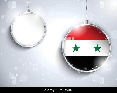 Merry Christmas Silver Ball with Flag Syria - Stock Photo